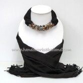 Dark Brown Scarf decorated with Mix